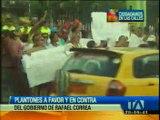 Plantones a favor y en contra del Gobierno en Quevedo
