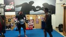 Connor Birch Tribal MMA 2013, pad work with Luke B.