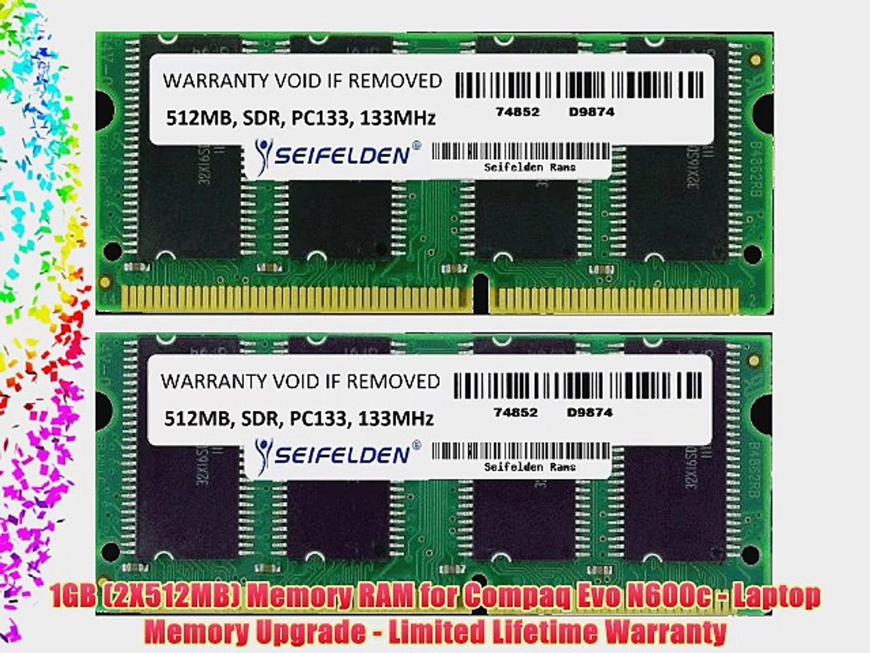 1GB (2X512MB) Memory RAM for Compaq Evo N600c - Laptop Memory Upgrade -  Limited Lifetime Warranty