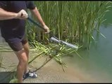 how to use the pond rake and weed cutter