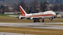 ENGINE FIRE! *RARE* Kalitta Air Boeing 747-200 [N704CK] landing in PDX