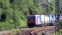 Züge und Schiffe bei Kestert am Rhein, Re482, LTE 185, 145, DB 185, 111, 101, 2x 428, 427