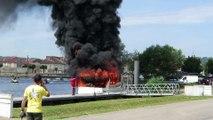Pont-à-Mousson : un bateau détruit par le feu