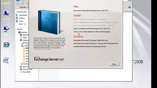 How to install Exchange Server 2007 on Microsoft  Windows Server 2008  Install Exchange Server 2007