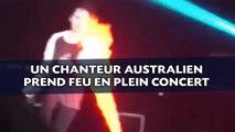 Un chanteur australien prend feu en plein concert