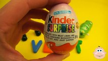 "Kinder Surprise Egg Learn-A-Word! Lesson ""V"" (Teaching Spelling & Letters Unwrapping Eggs & Toys)"
