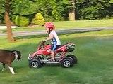 2 year old atv quad four wheeler rider I'm 28 months