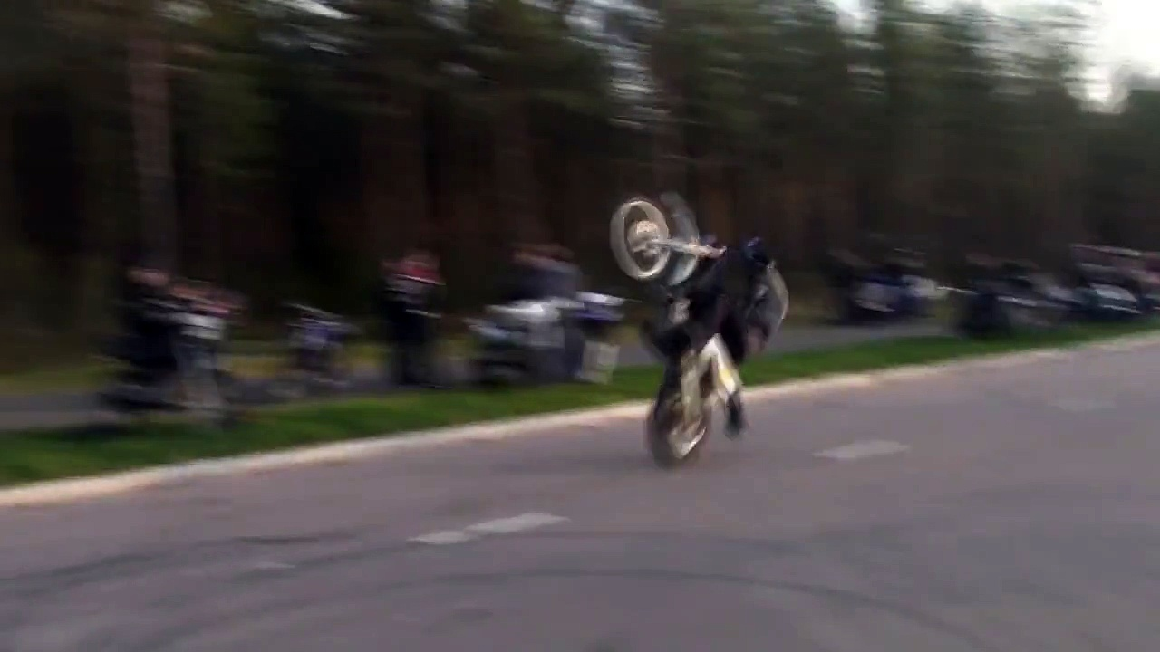 Husqvarna wheely crash