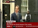 David Cameron the UK Prime Minister speaks out against the UK Riots TODAY in Downing Street