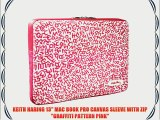 KEITH HARING 13 MAC BOOK PRO CANVAS SLEEVE WITH ZIP GRAFFITI PATTERN PINK