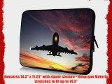 15 inch Rikki KnightTM Large Passenger Airplane in Sunset Design Laptop Sleeve