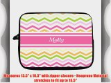 13 inch Rikki KnightTM Molly  Pink Chevron Name Laptop Sleeve