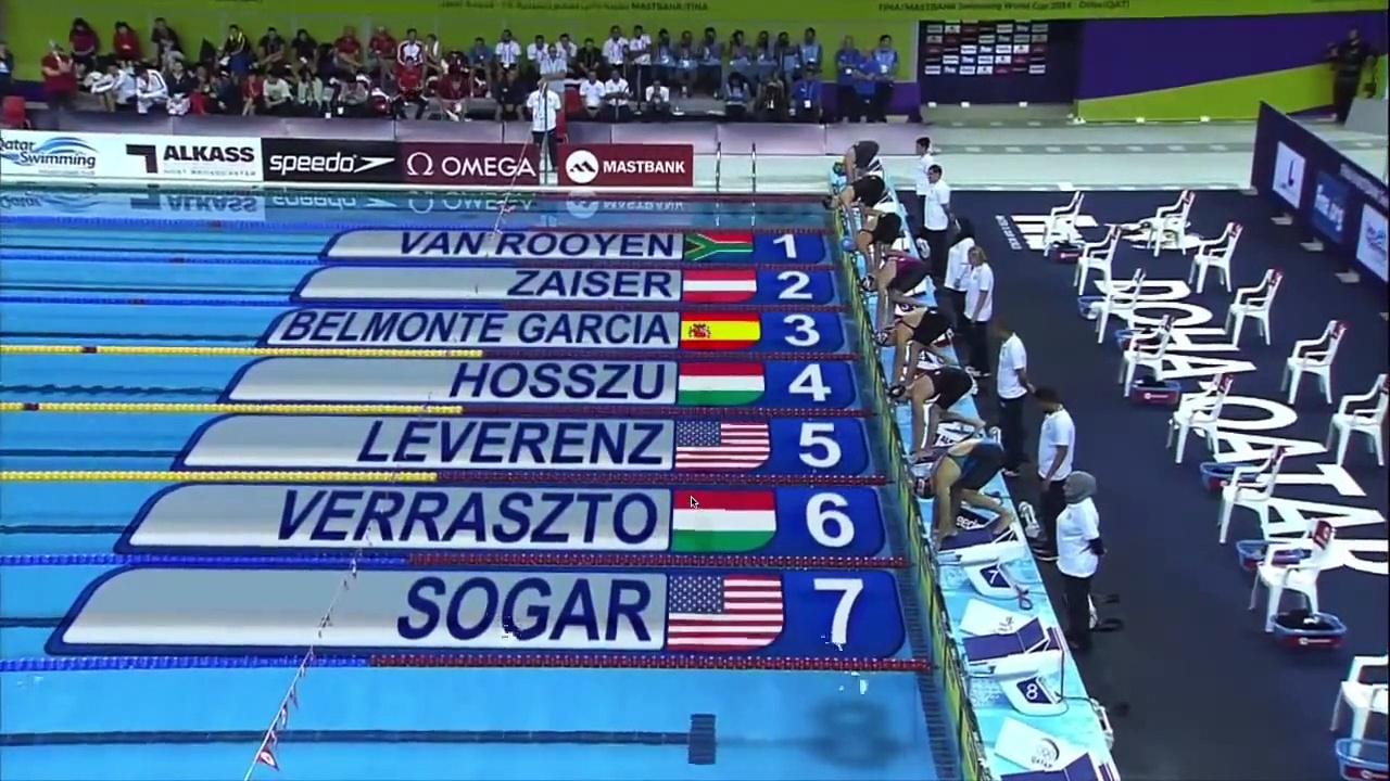 World Cup 2014 Doha (Qatar). FINAL Women's 200m Individual Medley (WR Katinka Hosszu)