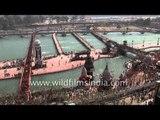 Hindu devotees gather to bathe in the River Ganges -  Kumbh Mela