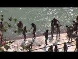 Naga sadhus take holy dip in river Ganges - Haridwar