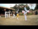Mizo boys display Taekwondo skills - High kick jump