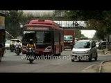 Delhi traffic on Ring Road near Friends Colony and Ashram Chowk