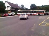 Woman driving bus in Bratislava Slovakia