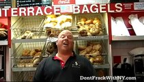 """Louis Thompson of Terrace Bagels in Brooklyn says, """"Don't Frack With New York's Water!"""""""