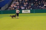 Kath Hardman and a young Amber dancing at Crufts 2007