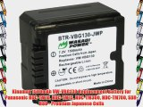 Kinamax 1500mAh VW-VBG130 Replacement Battery for Panasonic HDC-TM10 HDC-TM15 HDC-TM300 HDC-TM700