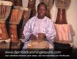 Djembe Drum Lesson, Master Drummer Improvising:Lamin  Jassey