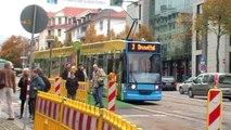 Tram Kassel: Umleitungsverkehr am Bahnhof Wilhelmshöhe, 14. Oktober 2013 (Description DE/EN)