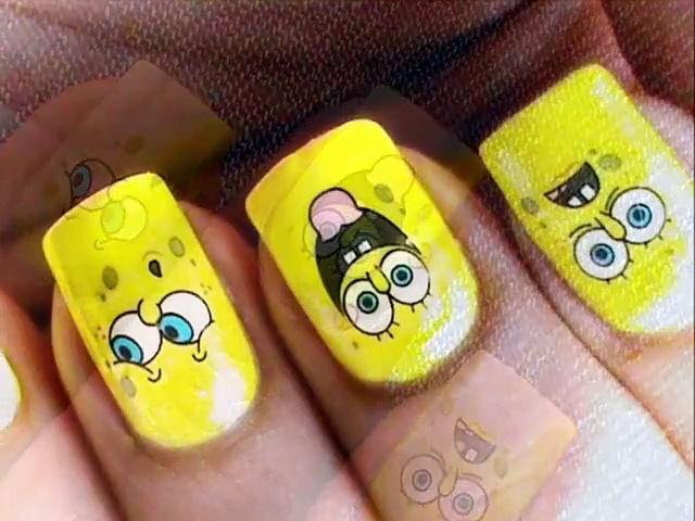 Sponge Bob  Decals Nail Art Nail Water Decals How To Nail Polish Easy Nail designs cute – Video Dailymotion