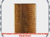 GAZE Premium Gold Croco Genuine Leather Crocodile Pattern Diary Cover Case for Apple iPad Air