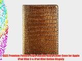 GAZE Premium Gold Croco Genuine Leather Crocodile Pattern Diary Cover Case for Apple iPad Mini