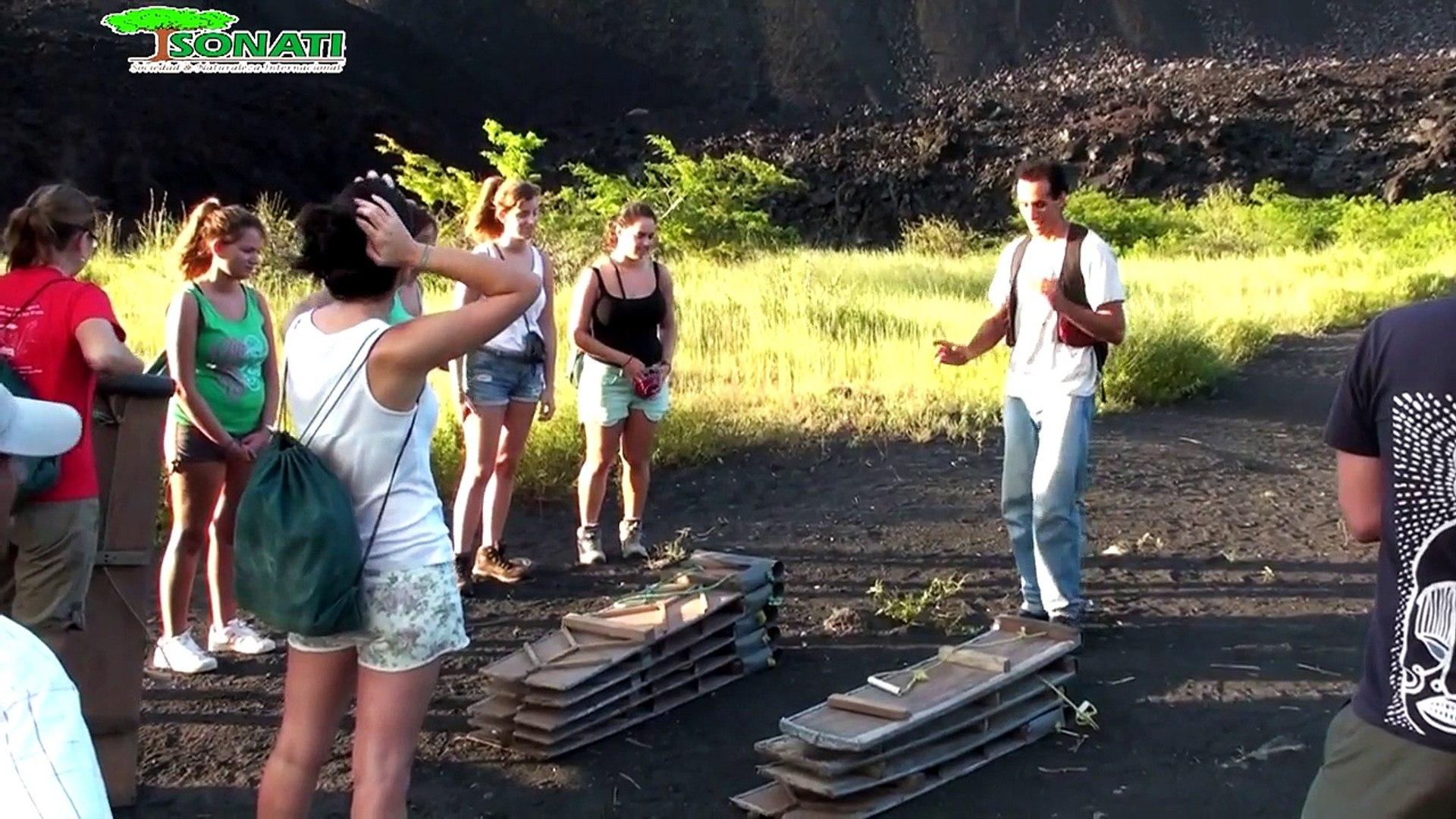 Volcano boarding at Cerro Negro- Leon, Nicaragua. Non profit SONATI tour.