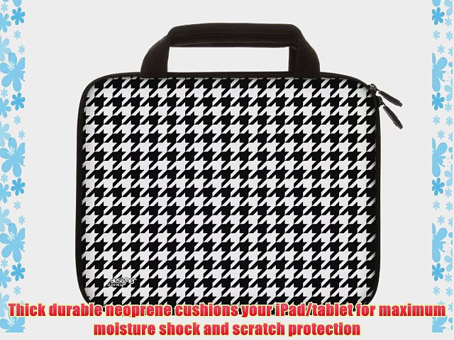 Designer Sleeves 8.9-Inch to 10-Inch Hounds Tooth Tablet Sleeve/iPad Sleeve with Handles Black/white