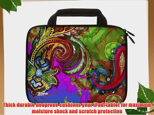 Designer Sleeves 8.9-Inch to 10-Inch Paisley Blush Tablet Sleeve/iPad Sleeve with Handles Rainbow