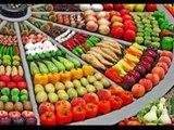 Vie pratique : Cuisine et santé - Un marché, présentation originale des stands de Fruits et légumes.