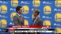 Gary Radnich talks with New Golden State Warriors Coach Steve Kerr