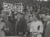 Stock Footage - 1930's BASEBALL. FDR ROOSEVELT THROWS OUT FIRST PITCH / PRES SPORTS