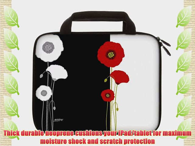 Designer Sleeves 8.9-Inch to 10-Inch Poppies Tablet Sleeve/iPad Sleeve with Handles Black/White
