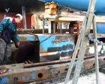 boat launch in lefkada - καθέλκυση ιστιοφόρου στην Λευκάδα