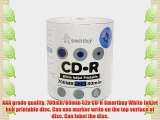 Smartbuy 700mb/80min 52x CD-R White Inkjet Hub Printable Blank Recordable Media Disc (1800-Disc)