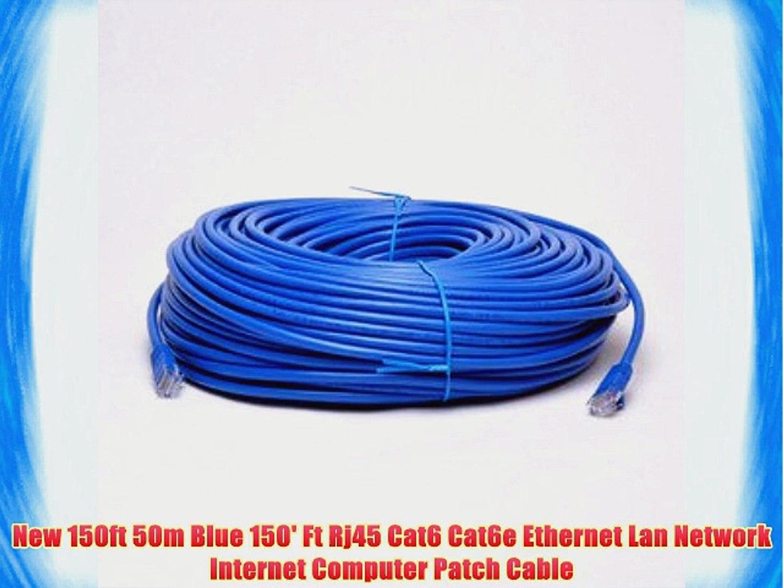 New 150ft 50m Blue 150' Ft Rj45 Cat6 Cat6e Ethernet Lan Network Internet Computer Patch Cable