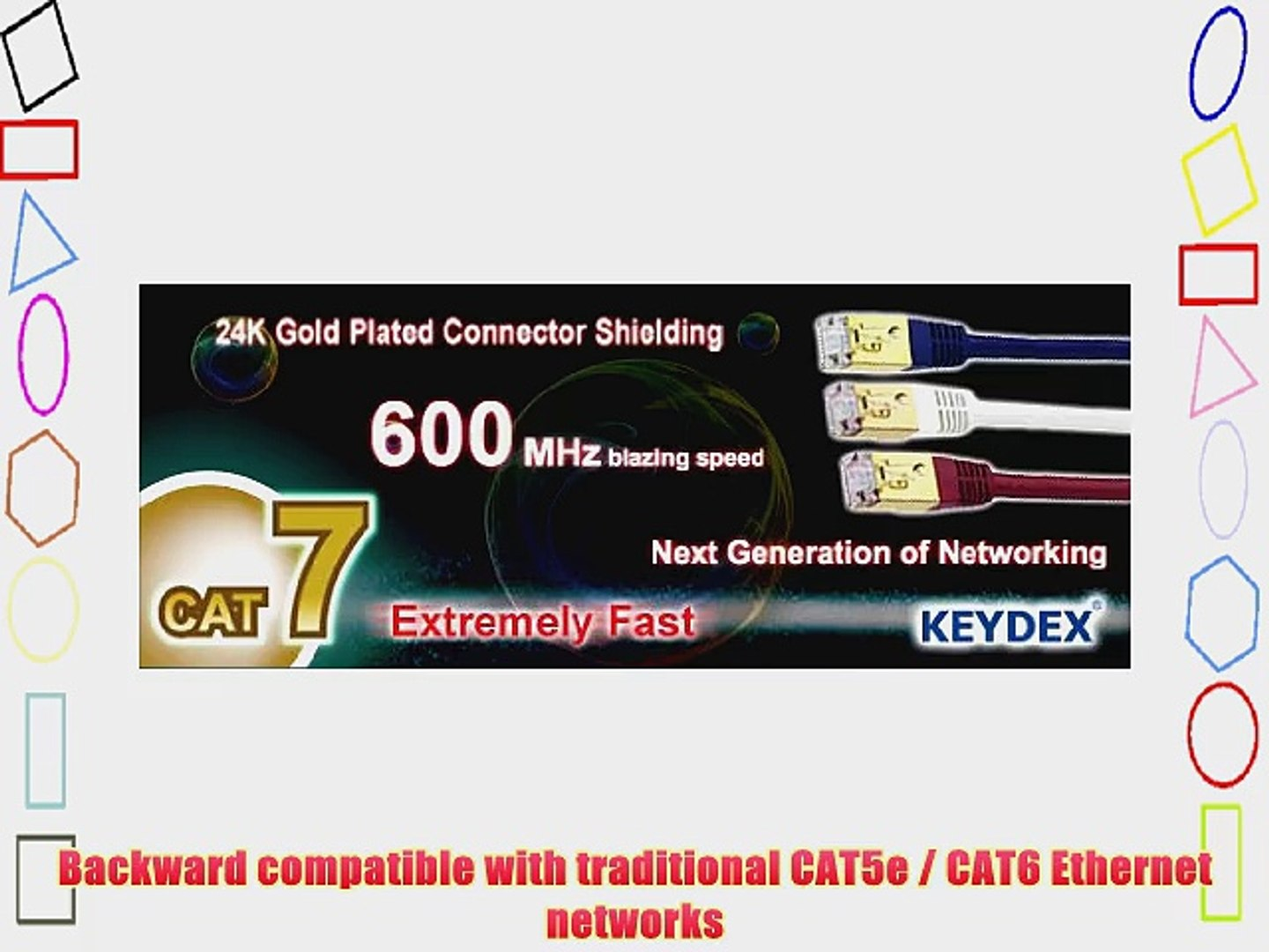 KEYDEX 3ft CAT7 SSTP 600Mhz Gold-Plated Snagless Network Lan Ethernet Patch Cable - Blue