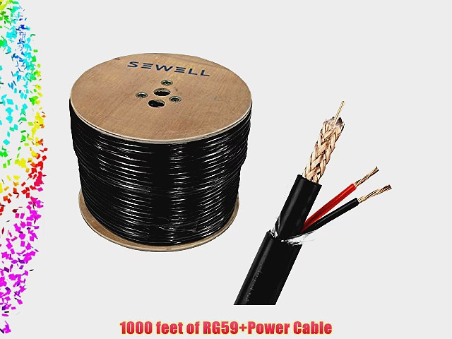 Sewell Direct SW-30380 Bulk RG59 Power Direct Burial Bare Copper 1000 ft. Spool Siamese Cable