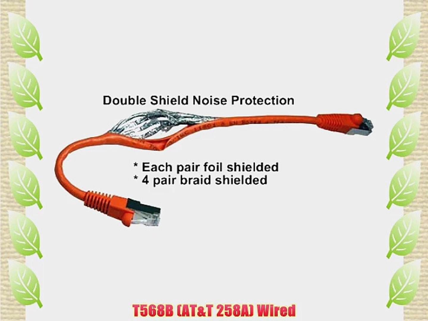 100FT Shielded CAT6 550MHz Molded Patch Cable Orange Color SSTP SF Cable