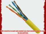 5 Star Cable ETL Listed 1000 Ft. Cat5E UTP Solid Copper PVC CMR-Rated Cable - Yellow