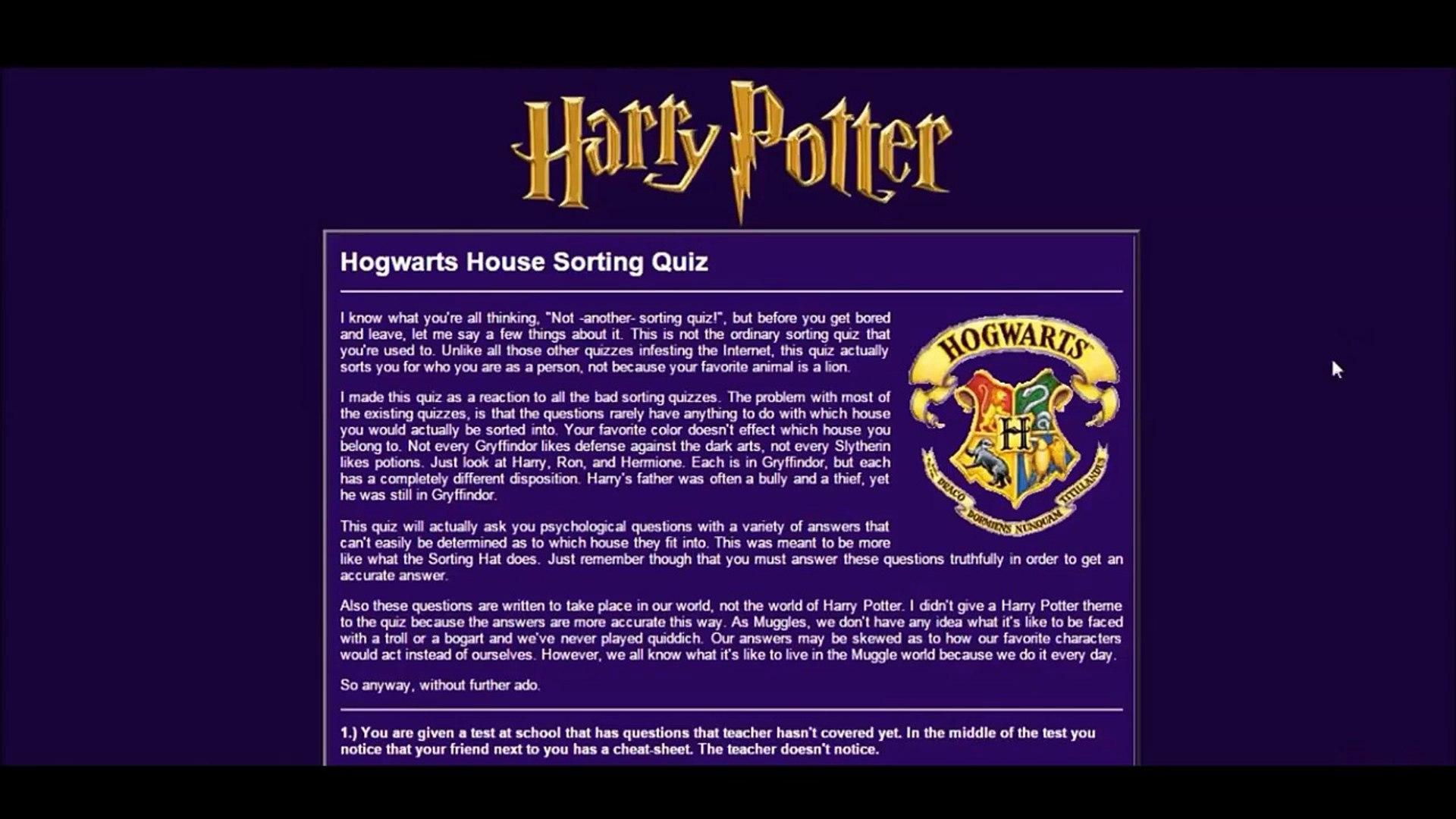 Let's Quiz #1 I AM A GENIUS! (Harry Potter House Sorting Quiz)