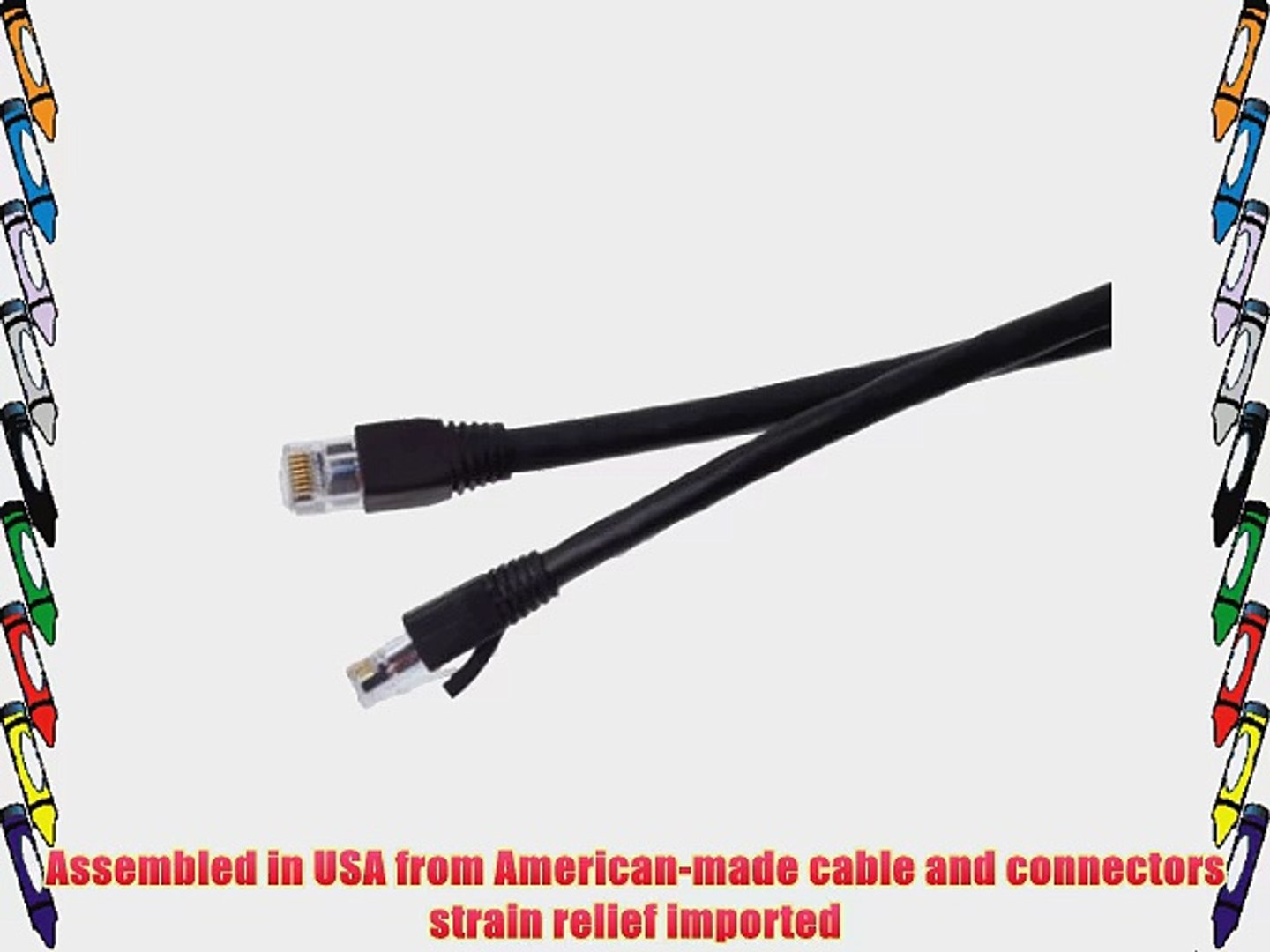 Certified 50 foot Black Cat 6A Patch Cable Assembled in USA Blue Jeans Cable brand with Test