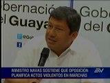 Serrano responsabiliza a organizadores por posibles desmanes en marcha de Guayaquil