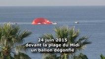 Une montgolfière amerrit devant la plage du Midi à Cannes