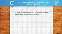 Allô prof - Le texte argumentatif - introduction (lettre ouverte)