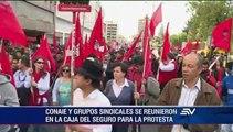 Organizaciones sindicales e indígenas marcharon esta tarde en Quito